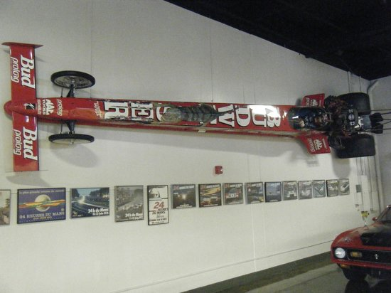 Marconi Automotive  Museum: Dragster mounted on the wall.