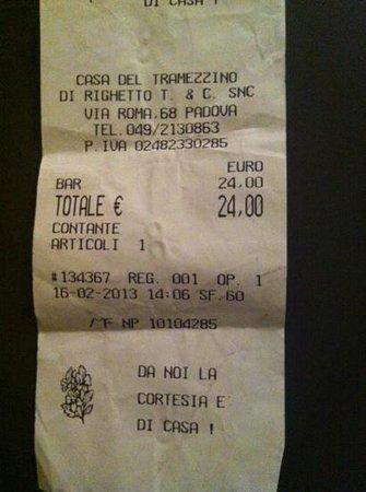 Casa del Tramezzino :                   il conto!