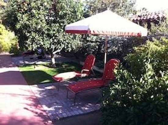 Colony Palms Hotel : The plantings create relatively private gazebos.