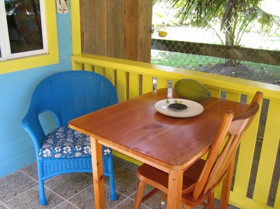 Colinda Cabanas:                                     Our dining area on the porch of our cabana