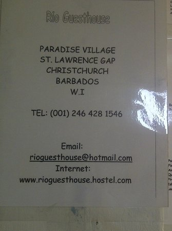 Rio Guest House:                   info