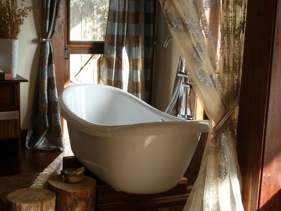 Escarpment Luxury Lodge:                   Separate footed tub