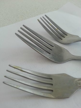 Mantra Sun City :                   The Forks with food on them which are ment to be clean!