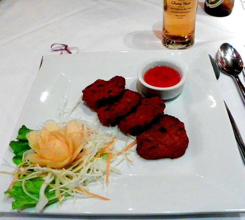 Zen:                   Thai deep-fried fish cakes with sweet&sour dip;yum!