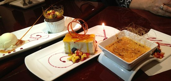 Wild Mango Restaurant and Bar:                   Mango cheesecake, Cream Brulee & something Chocolate