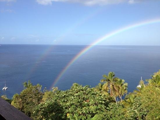 Stonefield Estate Resort:                   Double Rainbow!! from the Mango Tree restaurant at Stonefield.