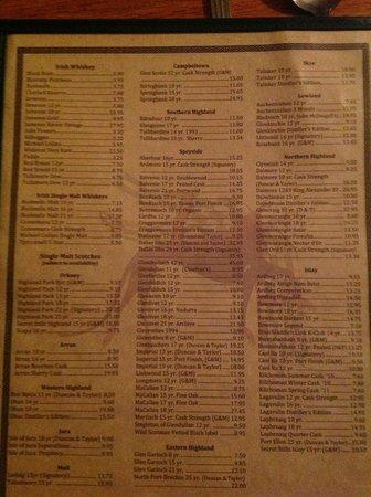 The Irish Lion Restaurant & Pub:                   Whiskey list!