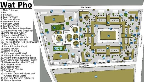 วัดโพธิ์: Map of the Wat Pho complex