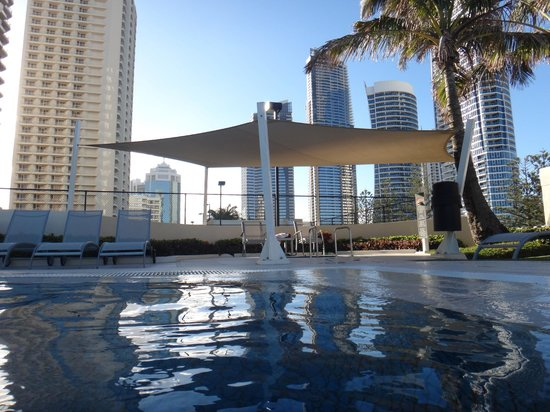 Paradise Centre Apartments:                   view from in pool to spa and cavill skyline