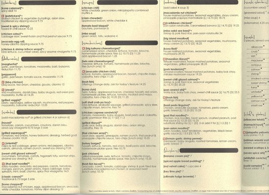 Menu Page 1 Picture Of Kona Grill San Antonio Tripadvisor