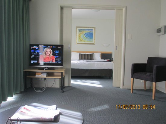 Quality Resort Sorrento Beach:                   from lounge through to bedroom,TV on table with castors easy to move to where
