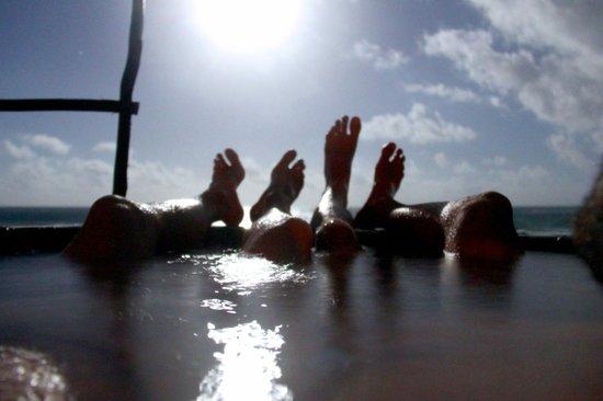Azulik:                   Relaxing in the outdoor bath under the moonlight.