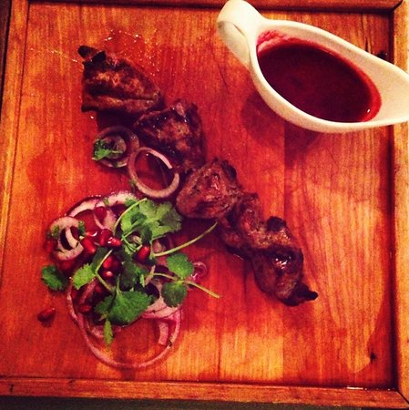 Khachapuri :                   Lamb kebab with plums sauce