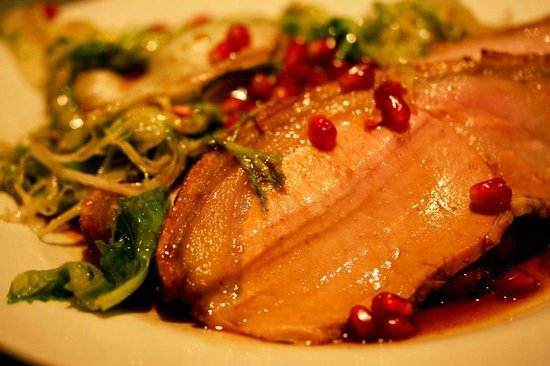 Moro Restaurant: Wood roasted pork with wilted escarole salad, pomegranate and migas (7/10)