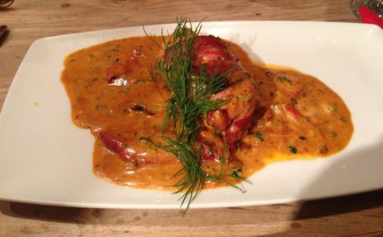 The Nelson Inn:                   Goats stuffed chicken wrapped in pancetta with red pepper & onion sauce