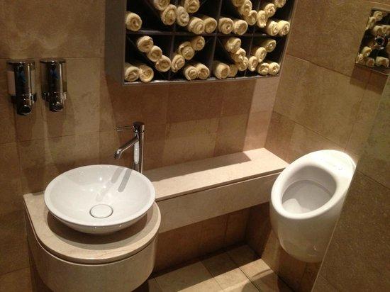 Hilton Doha:                   One sink next to urinal