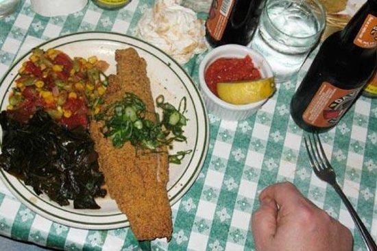 Hattie's :                   Fried catfish, succatash, collard greens, biscuits