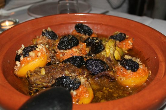 Dar Tchaikana:                   Lamb Tagine with dates and stuffed peaches with almonds-One of the best Tagine