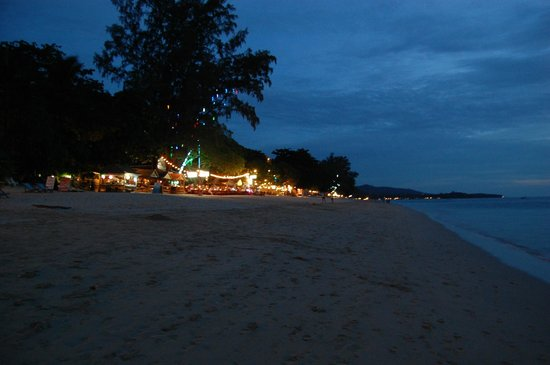 Sayang Beach Bungalows:                   Other restaurants and the beach to the south