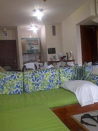 Las Olas Resort:                                                       parte baja de la habitacion con un baño ,c