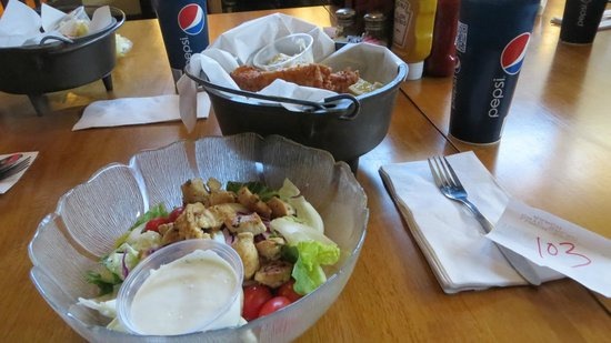 Ethel Red's Chop House:                   Chicken salad and the fish and chips special