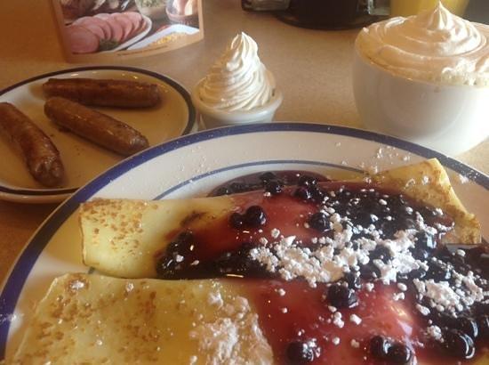 Bob Evans: Yum! Blueberry crepes.