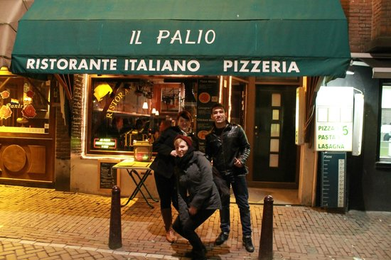 il palio:                   outside our favourite restaurant in amsterdam!
