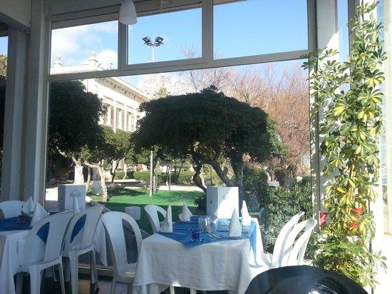 Blick vom Blue Heaven in den Park des Rathauses