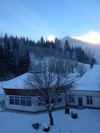 Relax & Wanderhotel Poppengut:                   udsigt fra balkon mod pool