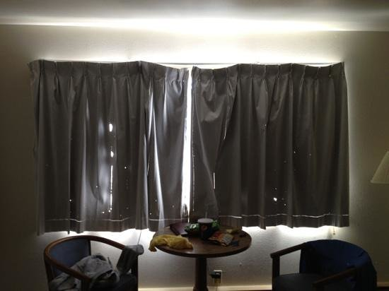 Silver Sands Motel:                                     holes in curtains