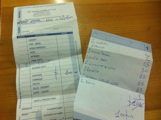 Sapri, Italie :                                     il conto
