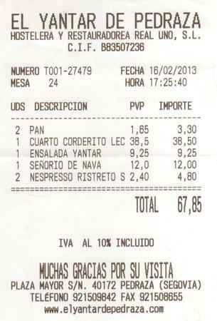 El Yantar de Pedraza: El Yantar: La nota de una comida para dos