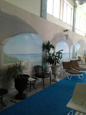 Senator Inn & Spa:                   mural in pool area