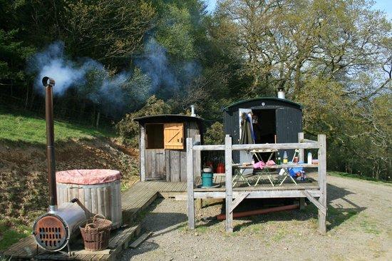 Mandinam:                   The hut, shower room and hot tub