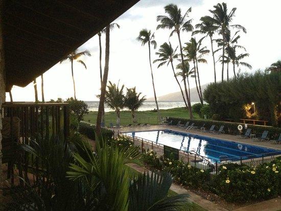 Waiohuli Beach Hale:                   View from Balcony - Courtyard, Pool, Beach, Ocean