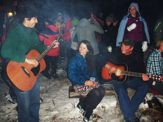 Cascade Cross Country Center: Singing around a bonfire at the Full Moon Party
