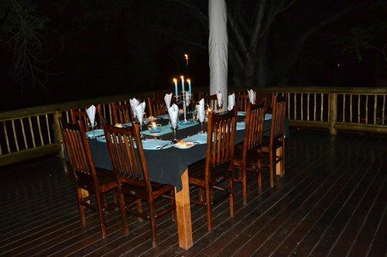 Naledi Bushcamp and Enkoveni Camp:                   Outdoor dining...