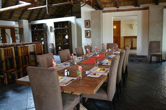 Naledi Bushcamp and Enkoveni Camp:                   Indoor dining for rainy days