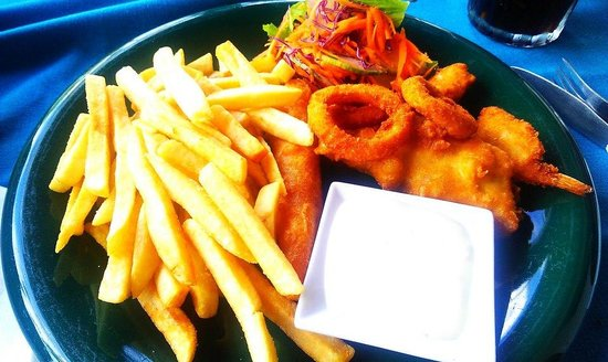 Seafood Gourmet:                   Seafood Platter with Fries and Salad