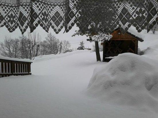 Gasthof Al Bagn:                   vista da soggiorno hotel dopo nevicata