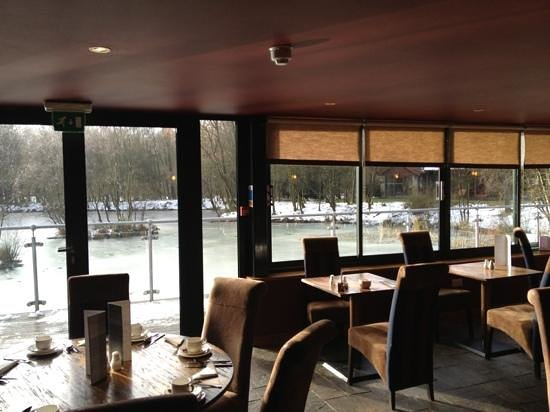 Chevin Country Park Hotel & Spa:                   View of frozen lake from restaurant where we ate breakfast and dinner