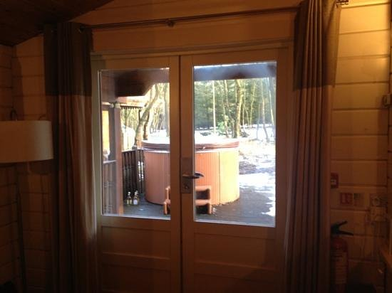 Chevin Country Park Hotel & Spa:                   View of hot tub from inside Dales Suite