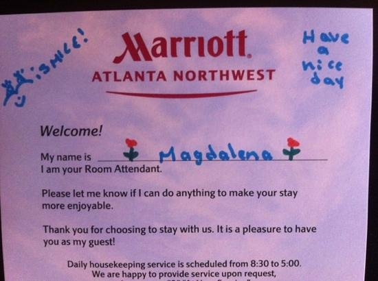 Atlanta Marriott Northwest at Galleria:                   cleaning crew seems cool