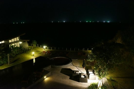 The Houben Hotel:                                     Hotel pool and grounds by night