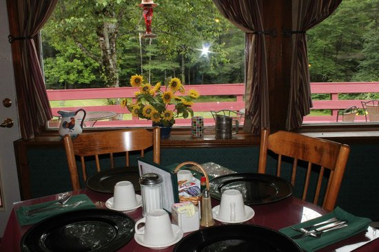 Cranmore Mountain Lodge Bed and Breakfast: Backyard view from the dining room