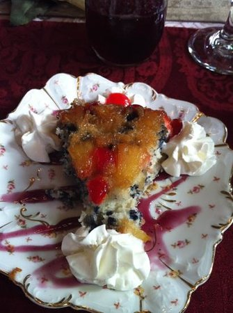 1884 Tinkerbelle's Wildwood Bed and Breakfast:                                     blueberry pineapple upside down cake.. third course