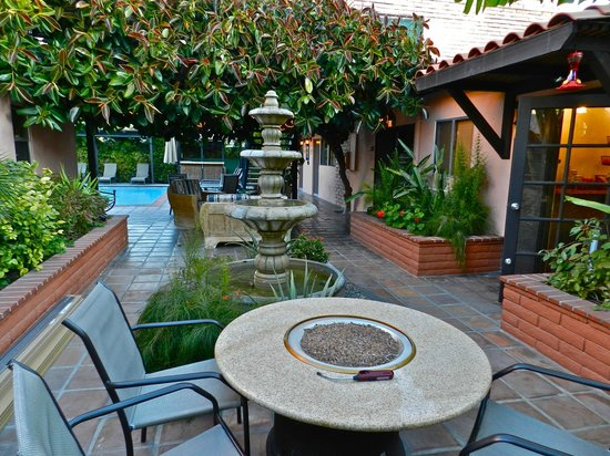 Hotel California:                                     Fountain and firepit area