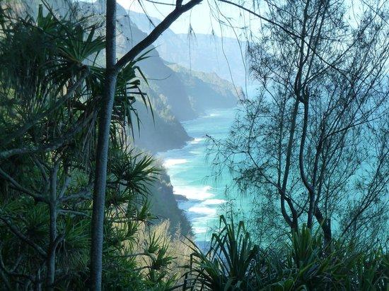 Na Pali Coast State Park:                   a view from Kalalau trail