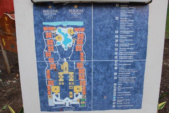 Iberostar Quetzal Playacar: Map of Resorts, Quetzal on left, Tucan on right