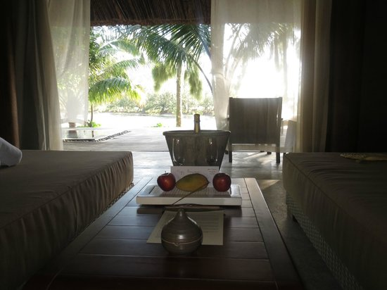 L'Alyana Villas Ninh Van Bay:                   Welcome Drinks and View from 'Lounge'